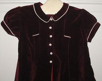 Vintage 1950's Little Girls Burgundy Velvet Dress