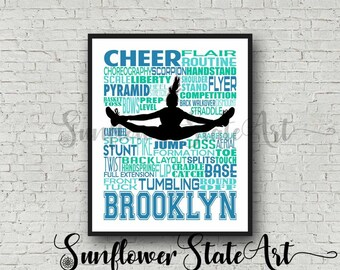 Personalized Cheerleading Poster Typography, Summit Cheer Gift, Cheerleading Gift, Gift for Cheerleaders, Cheer Team Gift, Cheer Poster