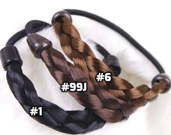 Braided Tonytails Fake Synthetic Hair Ponytail wrap around Elastic band hair tie