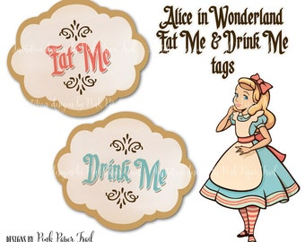 Alice In Wonderland Eat Me Drink Me Tags, Instant Download, Print Your Own