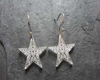Star perspex earrings with handmade sterling silver earwires