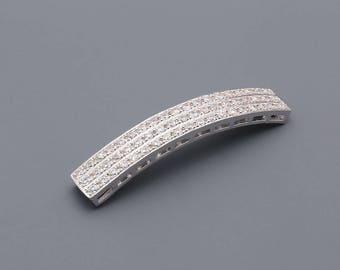W0001 - Bridal CZ bracelet, CZ Pendant, Rhodium plated over Brass, Cubic zirconia jewelry finding,Tarnish Resistant - 10 piece