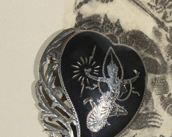 Siam Sterling Silver and Niello Heart Brooch, Silver and Black Filigree Heart Pin, Dancing Goddess, Mekhala
