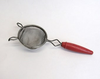 Vintage Rustic Red Wood Handled Small Strainer (E10214)