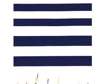 Regatta Border fabric - Michael Miller - Nautical border fabric - navy white stripe cotton - sailing fabric - boats fabric - seaside fabric