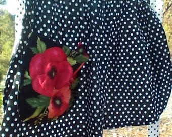 Black and White Polka Dot Half Apron with a Poppy Pocket
