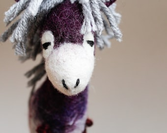 Margot - Felt Donkey.  Felted Animal, Art Toy. Marionette Puppet, Felted toy. Handmade felt donkey. violet purple red. MADE TO ORDER