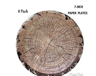 woodland paper plates, tree plates, 7 inch, lumberjack birthday decorations, rustic hunting baby shower, outdoors party, camping