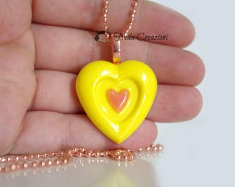 Heart in the Heart - Necklace - Resin - Charm - Pendant - OOAK - Kawaii