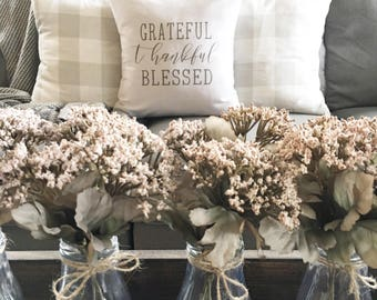 Grateful, Thankful, Blessed | pillow cover, farmhouse style, holiday decor