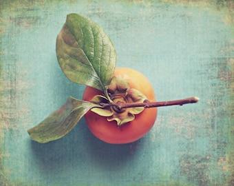 "Food photography persimmon still life orange fruit art teal blue green kitchen wall art dining room art 11x14 ""Persimmon on Blue"""