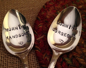 Hand Stamped Silver Coffee Spoons, Handstamped Cereal Spoons, Wedding Silver, Wedding Spoons, Bridal Shower Gift, Shower Gift, Hostess Gift