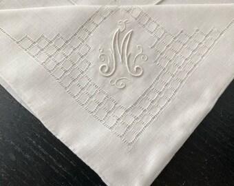 Vintage Monogrammed Handkerchief, Letter M, Hand Rolled Hem, Irish Linen, Embroidered, Bridal Shower, Bride Gift, Wedding Day Something Old