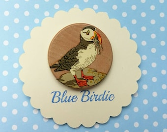 Handmade puffin brooch puffin jewelry puffin jewellery puffin badge vintage birch brooch bird brooch bird jewelry bird gift sea bird brooch