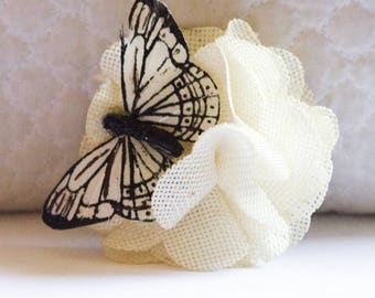 Small Rustic White Burlap Hair Flower with White Monarch Butterfly Clip // Cute Hair Care Accessories