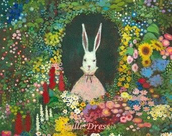 Sweet Cottage Bunny with Glittery Accents in Pink Frock with Flower Garden Colorful Bunny Portrait and Custom Greeting Stationary