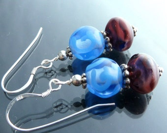 Victorian Lamp Earrings in sterling silver lampwork glass sapphire blue and purple swirl gone with the wind gas lamps closeout sale jewelry