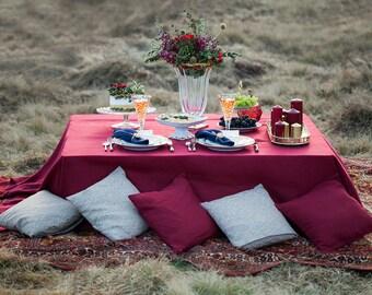 Burgundy linen tablecloth - marsala tablecloth - Burgundy wedding tablecloth - marsala wedding tablecloths - Boho wedding table decor