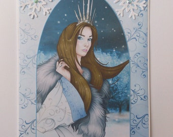 Snow Queen Christmas card in blue with snowflakes