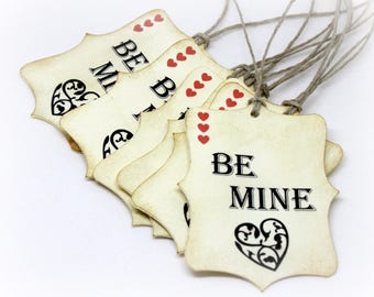 Valentine's Day Tags (Double Layered) - Be Mine - Be My Valentine - Heart Tags - Handmade Vintage Style Wrapping Labels  (Set of 8)