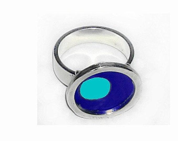 TWO TONE blue/aqua silver,recycled aluminum rings