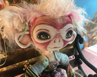 "pink hair monkey girl 16"" wire armature cloth handpainted posed artdoll"