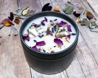 Gaia Earth Goddess 100% Soy Candle with Essential Oils and Abalone Shell Crystals