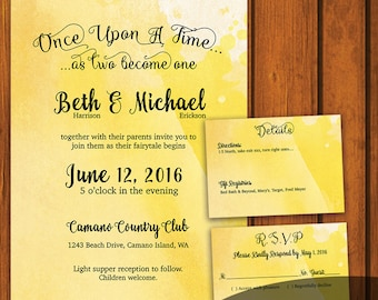 Fairytale Wedding / Vintage Wedding Suite / Yellow Watercolor Invitation / Fairy tale  / Yellow / fairytale / Anniversary / Wedding