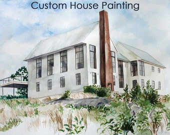 CUSTOM Watercolor House Portrait, Personalized House Painting, Original Painting, Housewarming Gift, Gift for Parents, Vacation Home Gift