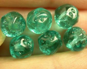 VINTAGE GERMAN GLASS Beads Green Dimpled 6.5mm pkg6 gl225