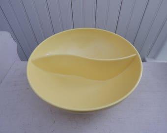 Retro Yellow Mar-Crest Melmac Divided Vegetable Serving Bowl - Vintage 1950s Melmac Melamine Serving Bowl - Yellow Bowl - Vintage Kitchen