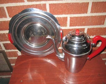 Vintage Art Deco Chrome and Red Bakelite Coffee Pot and Tray