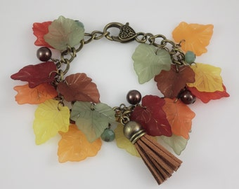 Bronze Autumn Leaves Beaded Charm Bracelet Green Yellow Orange Red Fall Colours