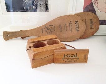 Game Eskual Jokari/skein Senior wood pelota without front peplum. Vintage 60s