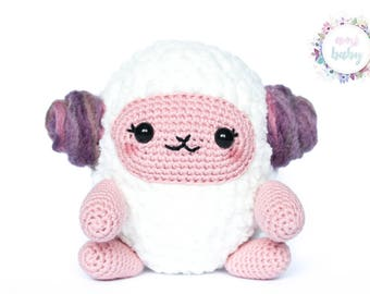 Plush sheep kawaii, white and pink, cute lamb, amigurumi stuffed animal, crochet sheep toy, sheep plushie, decor room, toys for kids, tsumu,
