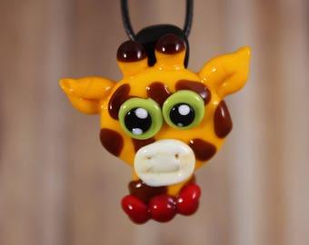 Giraffe Necklace, Giraffe Jewelry, Giraffe Pendant, Glass Giraffe, Animal Necklace, Giraffe, Baby Giraffe, African Jewelry, African Animal