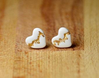 Kintsugi Earrings - Heart Stud Earrings - Hypoallergenic Stud Earrings - Sensitive Ears - Polymer Clay Earrings - Nickel Free Earrings
