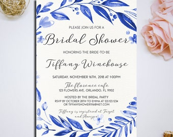 Snorkel Blue Navy Blue floral wreath Wedding invitation, Printable Bridal Shower Invitation, Bridal Shower Digital Files, DIY Wedding