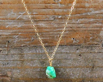 Chrysoprase Necklace, Layering Necklace, Healing Jewelry, Chrysoprase Jewelry, Mint Green Necklace, Gift for Her