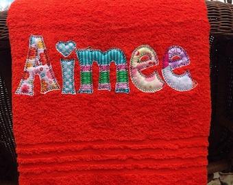 Applique Name Towel Personalized Bath Towel