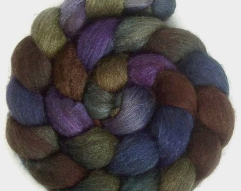 Handpainted Dark BFL Wool Roving - 4 oz. CALYPSO - Spinning Fiber