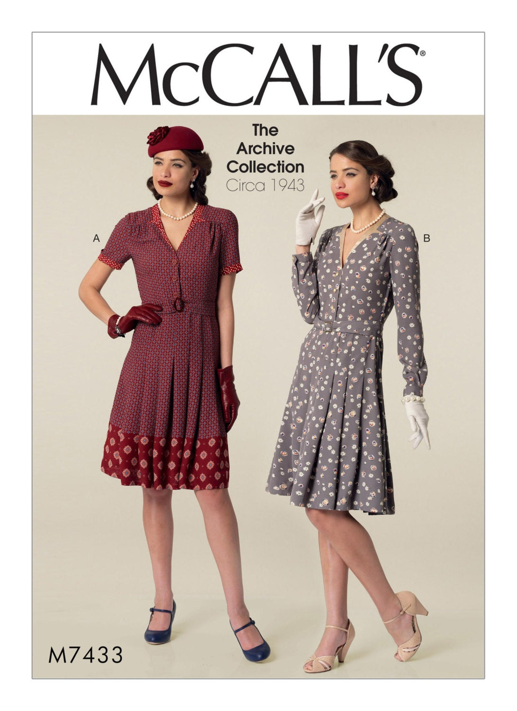 Retro-1940 Vintage Kleid Schnittmuster McCalls M7433