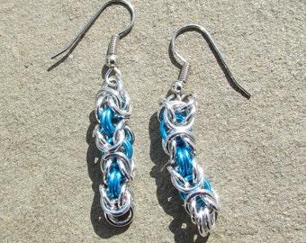 Chain Maille Earrings, Turquoise Earrings, Byzantine Earrings, Blue Jewelry