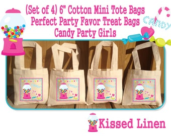 Candy Girls Boys Birthday Party Treat Favor Gift Bags Gumball Candies Lollipop Cotton Mini Totes Children Kids Candy Favors
