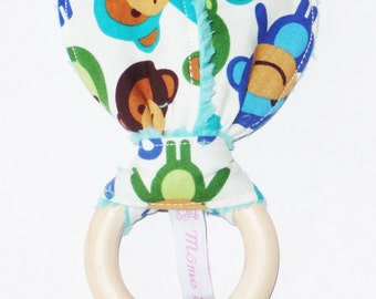 WISTY BOY - Baby Rattle Bunny ear teething ring rattle monkeys - wooden baby teething ring