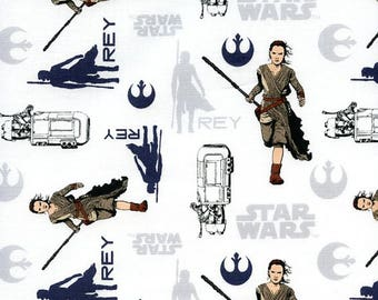 Star wars REY white quilt fabric