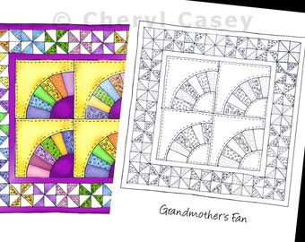 Printable Coloring Page - Quilt: Grandmother's Fan - Cheryl Casey Art - Digistamp, Digital Stamp