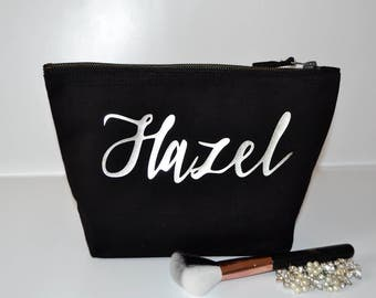 Bridesmaids gifts idea, Personalised black makeup bag, thank you gift, will you be my bridesmaid, toiletry bag, cosmetic bag