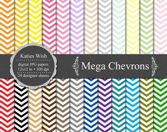 Instant Download Chevrons Digital Paper Commercial Use Kit