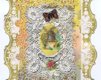 Antique Vintage Victorian Valentine Windmill Flower Butterfly Paper Lace Embossed Chromo Greeting Card Love Token Keepsake